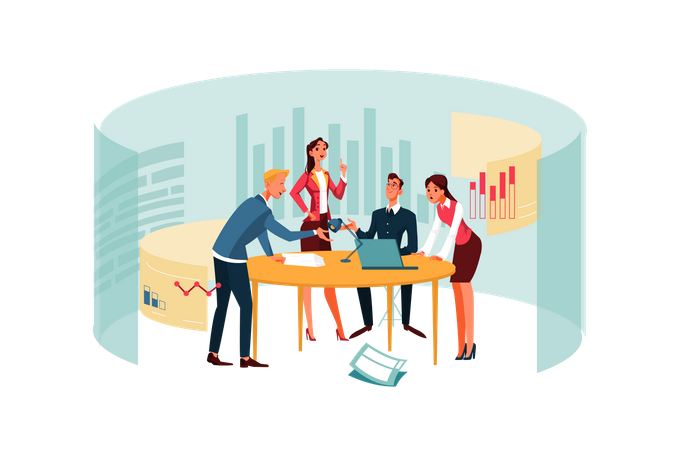 Team meeting at office conference room Illustration
