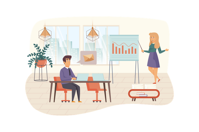 Team of content managers works in office Illustration