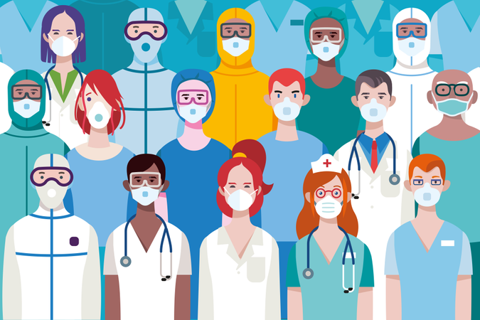 Team of Female and Male Doctors or Nurses Wearing different Personal Protective Equiment for work in an Hospital to fight against the covid-19 virus Illustration