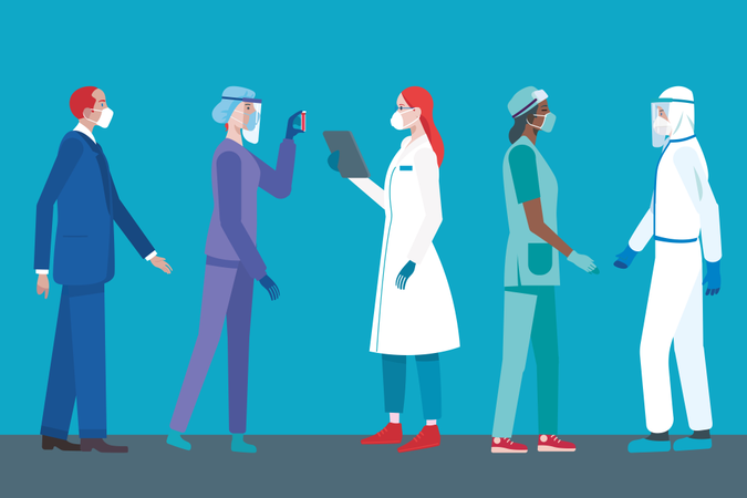 Team of Female and Male Doctors or Nurses Wearing different Personal Protective Equipment for work in Hospital fighting covid-19 Illustration