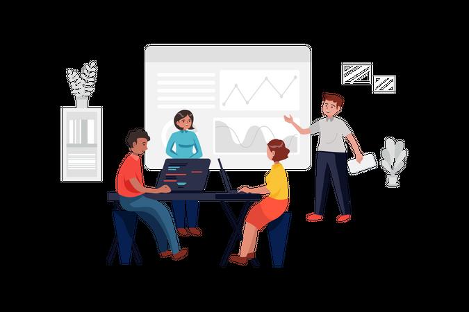 Team Presentation with analytics Illustration