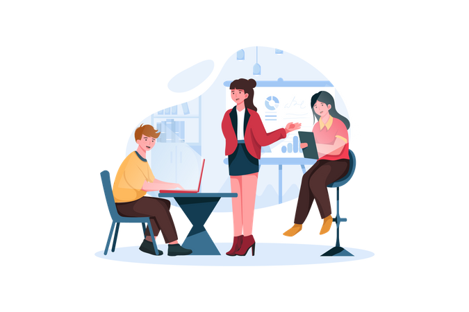 Team works on project with help of analytics, computers and graphs in office Illustration