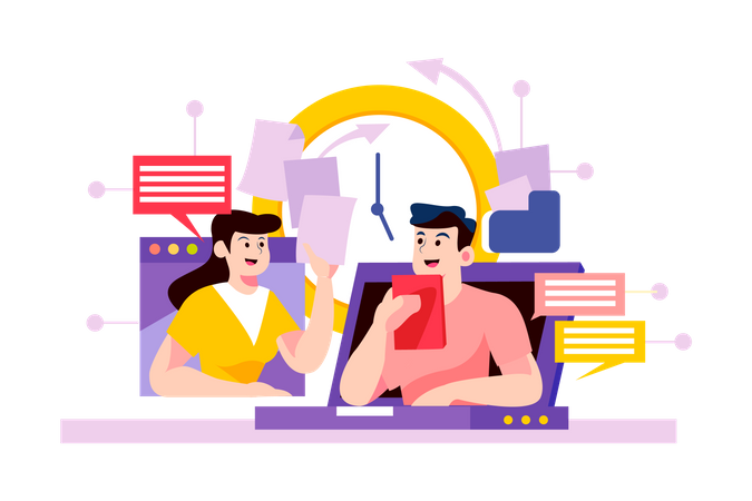 Teammates use online meeting to discuss and transfer the files Illustration