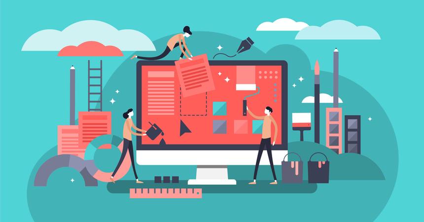 Teamwork and coworker job for computer app development company Illustration