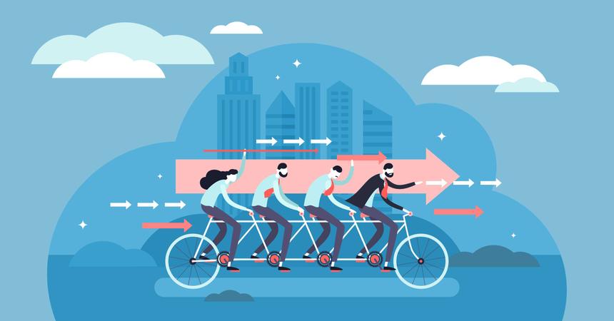 Teamwork motivated cooperation power concept Illustration