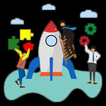 Teamwork to build a Startup Illustration