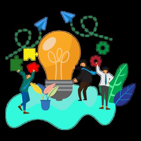 Teamwork to build bulb lamp Illustration
