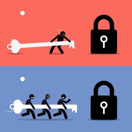 Teamwork vs Working Alone Illustration
