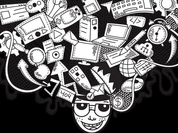 Technology Creative Doodle Wall Art Illustration
