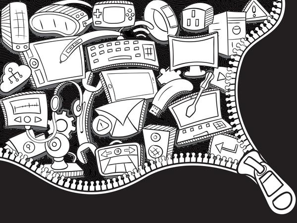 Technology Doodle Wall Art Illustration