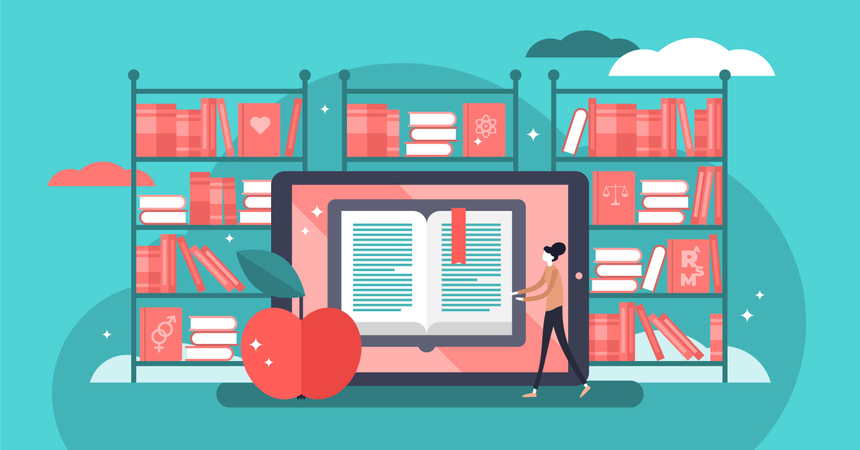 Technology using for knowledge study, school or university Illustration