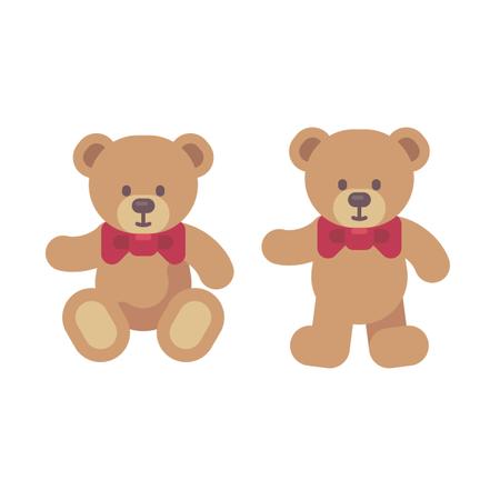 Teddy Bear Sitting And Standing Flat Illustration Illustration