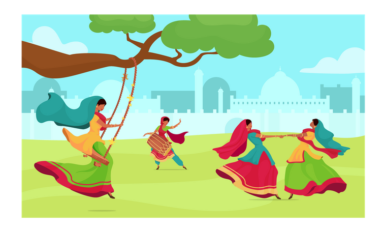 Teej Festival Illustration