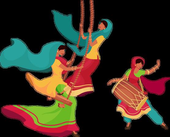 Teej festival celebration Illustration