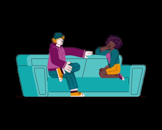 Teen couple sitting on sofa and talking Illustration
