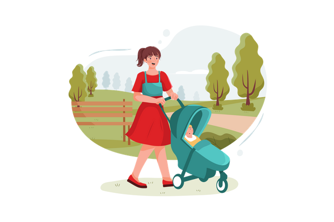 Teen nanny with cute baby in stroller playing in park Illustration