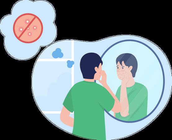 Teenage boy sad over pimple Illustration