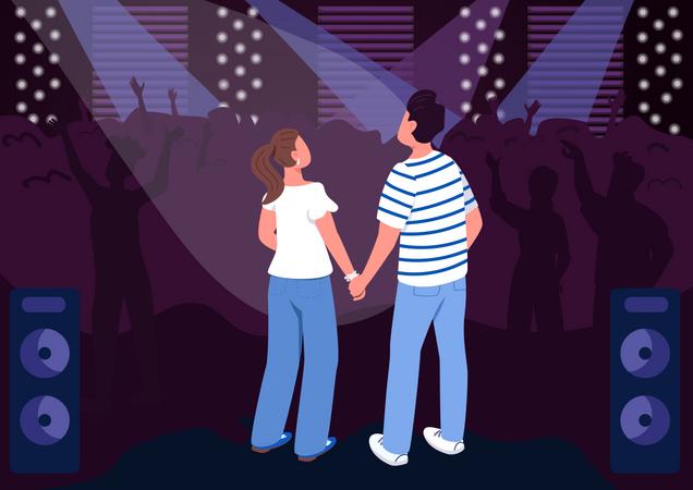 Teenage couple in club Illustration