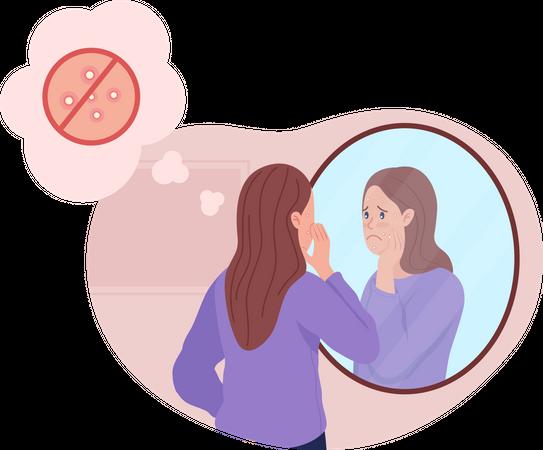 Teenage girl upset over acne Illustration