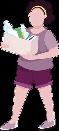 Teenage girl with rubbish Illustration