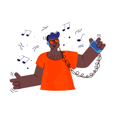 Teenage listening to music from smartphone and smiling Illustration