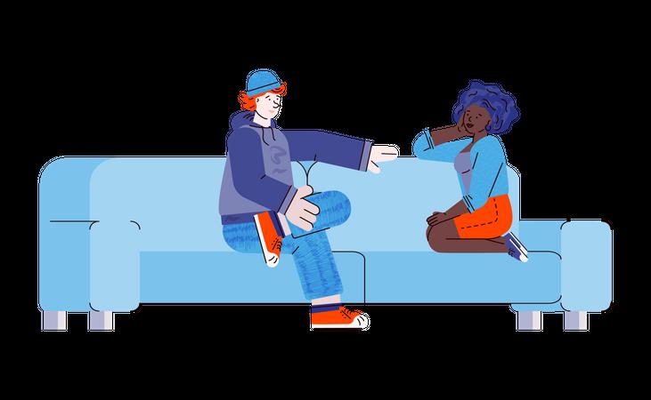 Teenager couple sitting on sofa Illustration