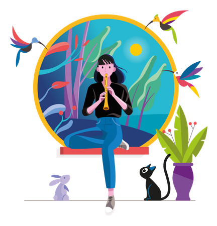 Teenager Girl Playing Flute Surrounded By Cute Animals Illustration