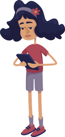 Teenager girl using tablet, phone Illustration
