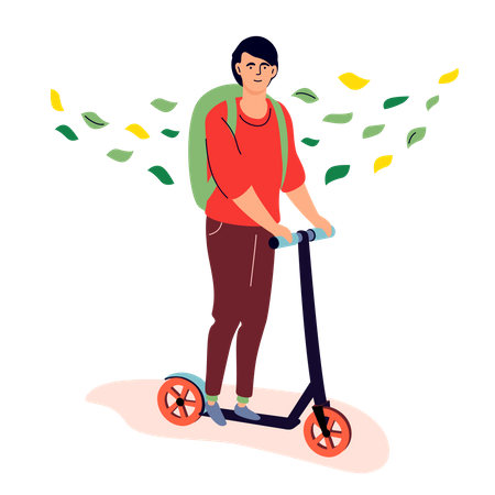 Teenager riding a kick scooter Illustration
