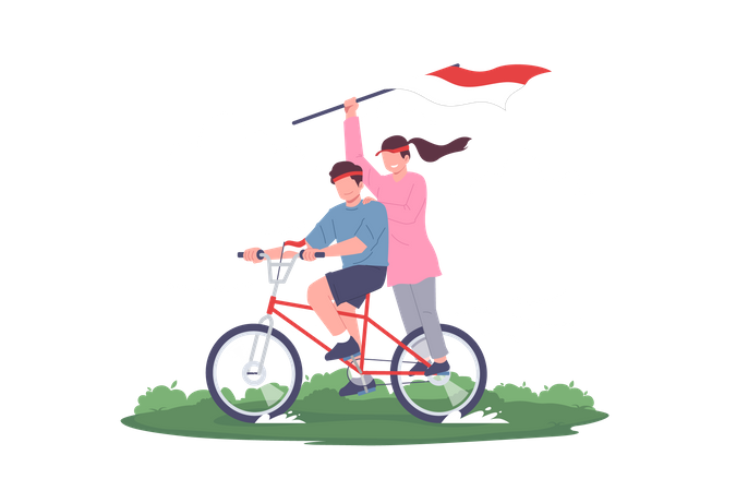 Teenagers Celebrating Indonesia Independence Day on cycle Illustration