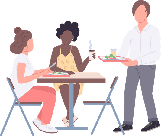 Teenagers on lunch break in cafeteria Illustration