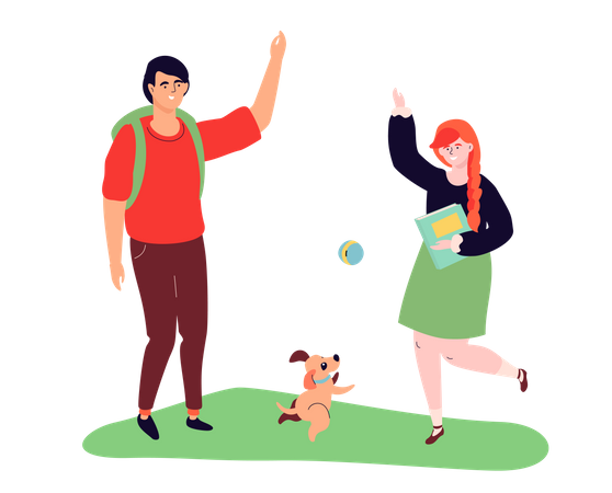 Teenagers playing with a dog Illustration