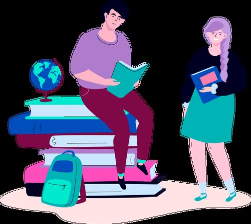Teenagers reading Illustration