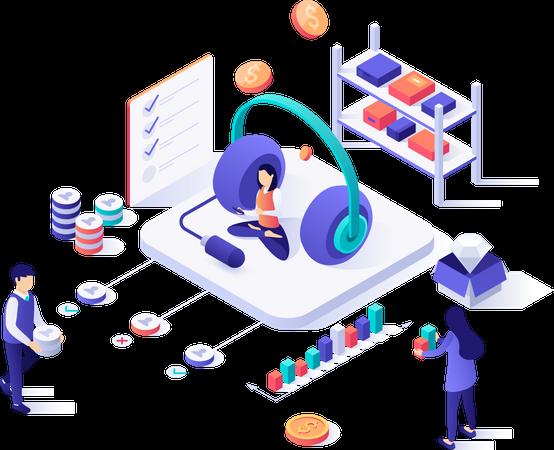 Telephone marketing Illustration
