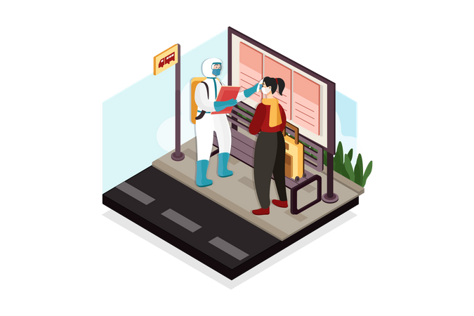 Temperature check at bus stand Illustration