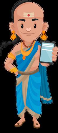 Tenali Rama showing a mobile phone Illustration