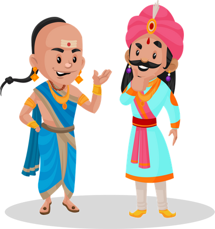 Tenali Ramakrishna talking with a king Illustration