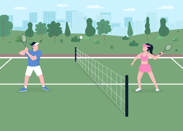 Tennis game Illustration