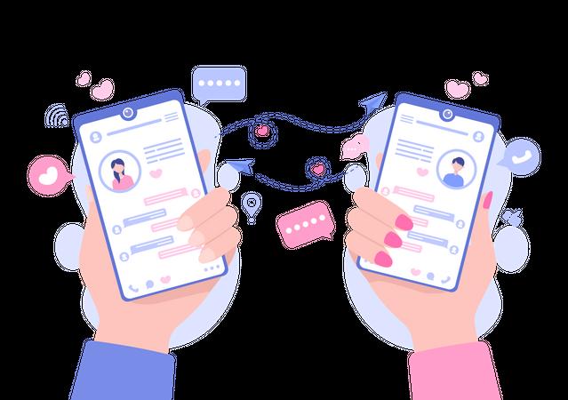 Text messaging Illustration