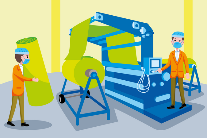 Textile Machinery Worker Illustration