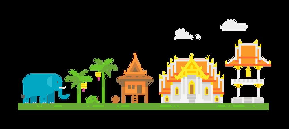 Thai temple Illustration