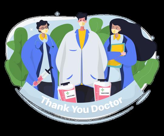 Thank you doctor, Medical team profile Illustration