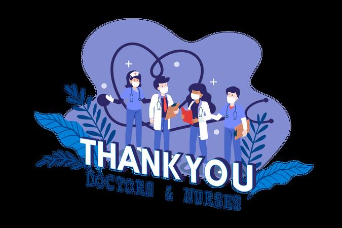 Thank You to Doctors & Nurse Illustration