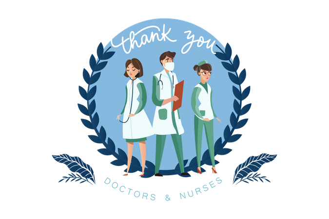 Thank you to our doctors and nurses Illustration
