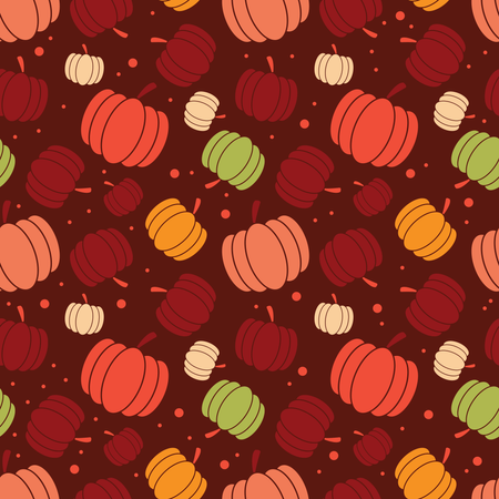 Thanksgiving and autumn seamless pattern with pumpkins, colorful design Illustration