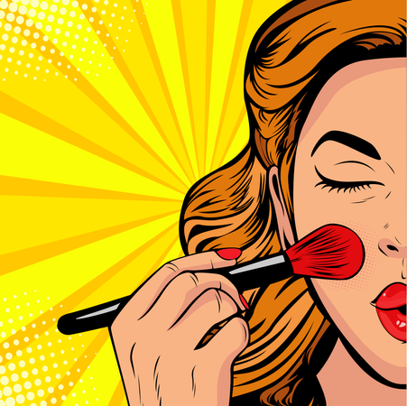 The beauty of the face. Make-up, woman brush causes the tone to the face. Vector Illustration in pop art retro comic style. Illustration