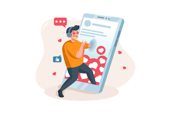 The boy is excited for his likes on social networks Illustration