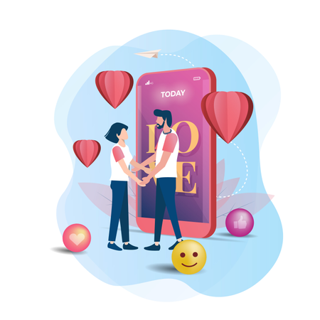 The couple expresses falling in love Illustration