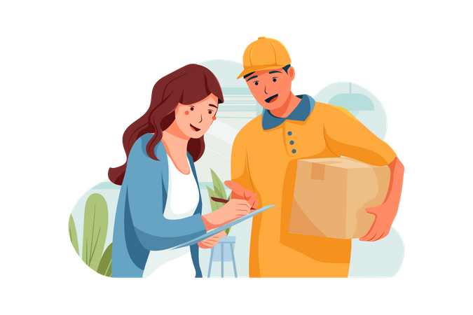 The customer is standing beside the shipper to sign her bill Illustration