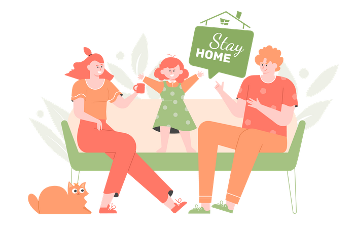 The family spending time at home Illustration
